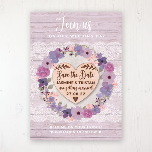 Wisteria Garden Backing Card with Wooden Save the Date Heart Magnet