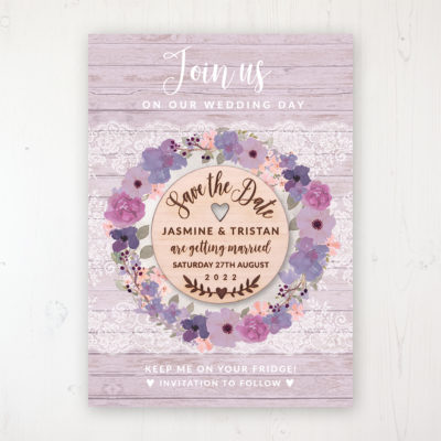Wisteria Garden Backing Card with Wooden Save the Date Round Magnet